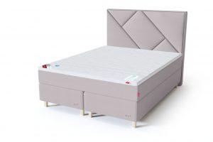 Sleepwell RED Continental dvigulė lova / RED Geometry galvūgalis smėlio (biežinė) spalva / TOP HR Foam antčiužinis