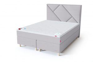 Sleepwell RED Continental dvigulė lova / RED Geometry galvūgalis šviesiai pilka spalva / TOP HR Foam antčiužinis