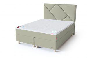 Sleepwell RED Continental dvigulė lova / RED Geometry galvūgalis šviesiai žalia spalva / TOP HR Foam antčiužinis