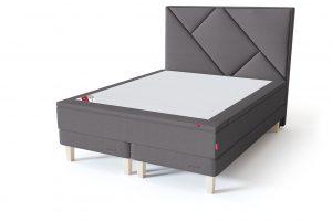 Sleepwell RED Continental Base dvigulė miegamojo lova su čiužiniu / RED Geometry galvūgalis / TOP HR Foam Plus antčiužinis pilka spalva