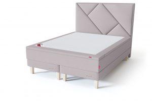 Sleepwell RED Continental Base dvigulė miegamojo lova su čiužiniu / RED Geometry galvūgalis / TOP HR Foam Plus antčiužinis smėlio (biežinė) spalva