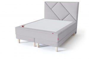 Sleepwell RED Continental Base dvigulė miegamojo lova su čiužiniu / RED Geometry galvūgalis / TOP HR Foam Plus antčiužinis šviesiai pilka spalva