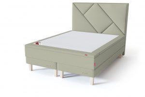 Sleepwell RED Continental Base dvigulė miegamojo lova su čiužiniu / RED Geometry galvūgalis / TOP HR Foam Plus antčiužinis šviesiai žalia spalva