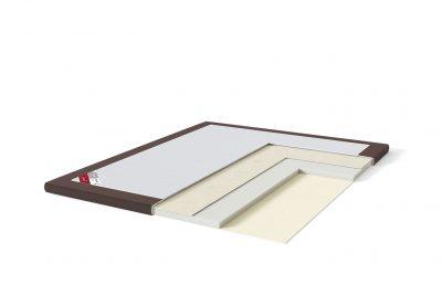 Latekso antčiužinis su baldiniu audiniu Sleepwell RED serijos lovoms TOP Latex Lux ruda spalva-struktūra
