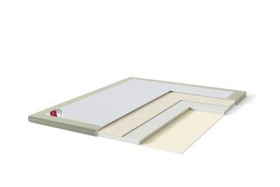 Latekso antčiužinis su baldiniu audiniu Sleepwell RED serijos lovoms TOP Latex Lux šviesiai žalia spalva-struktūra