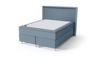 Sleepwell BLACK Continental tipo dvigulė miegamojo lova su čiužiniu / BLACK Lined galvūgalis / TOP Latex Lux antčiužinis, šviesiai mėlyna spalva