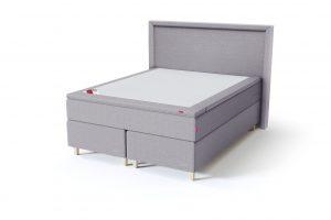 Sleepwell BLACK Continental tipo dvigulė miegamojo lova su čiužiniu / BLACK Lined galvūgalis / TOP Latex Lux antčiužinis, šviesiai pilka spalva