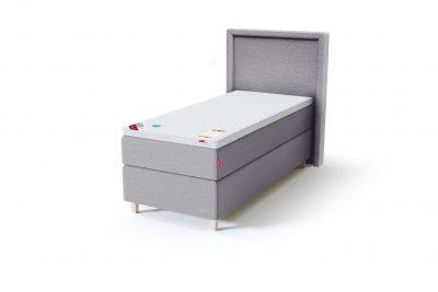 Sleepwell BLACK Continental tipo viengulė miegamojo lova su čiužiniu / BLACK Lined galvūgalis / TOP Latex Lux antčiužinis, šviesiai pilka spalva