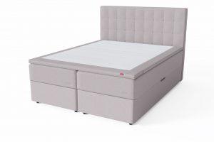 Sleepwell RED Storage dvigulė miegamojo lova su patalynės dėže / RED Bris galvūgalis lovai / TOP HR Foam Plus antčiužinis, smėlio (biežinė) spalva