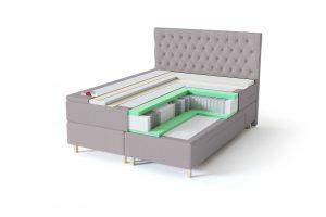 Sleepwell BLACK Continental tipo dvigulė miegamojo lova su stalčiais, BLACK Solhall chester tipo lovos galvūgalis, pilka spalva-struktūra