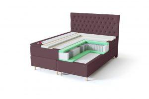 Sleepwell BLACK Continental tipo dvigulė miegamojo lova su stalčiais, BLACK Solhall chester tipo lovos galvūgalis, rausvai ruda spalva-struktūra