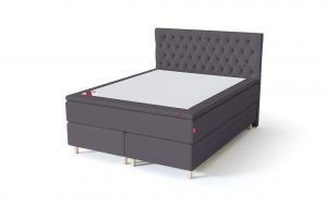Sleepwell BLACK Continental tipo dvigulė miegamojo lova su stalčiais, BLACK Solhall chester tipo lovos galvūgalis, tamsiai pilka spalva